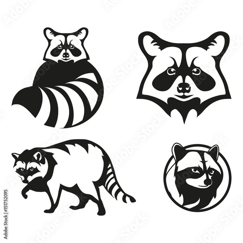 Set Of Four Black Logo Silhouettes Of Raccoon Illustration Isolated