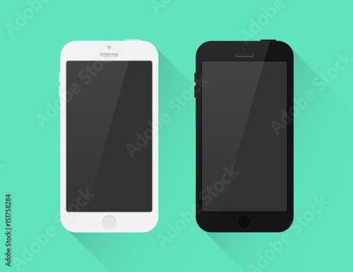 Fotografía  Smartphone schwarz weiß Icon Flat Design Vektor Grafik Illustration