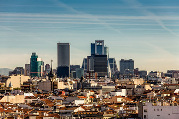Madrid's financial district towering above the rooftops