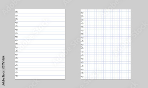 Valokuva  Set of vector realistic illustrations of a torn sheet of paper from a workbook w