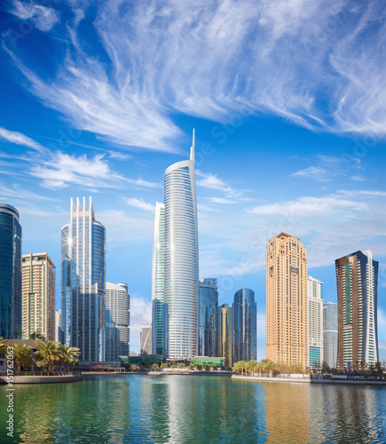 Recess Fitting Dubai Dubai - The skyscrapers of Jumeirah lake towers with the Almas tower.