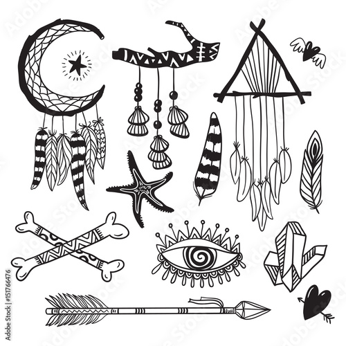 Boho style hand drawn elements  Boho chic tribal free spirit
