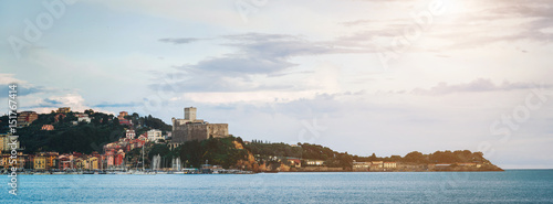 Keuken foto achterwand Liguria Scenic view of Lerici town skyline at sunset, Liguria, Italy. Picturesque italian riviera postcard.
