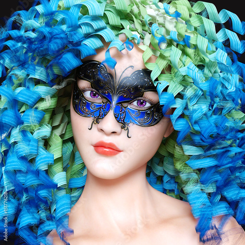 Fototapety, obrazy: 3D woman portrait in mask and bright makeup. Long curly hair. Carnival. Conceptual fashion art. Photorealistic render illustration.
