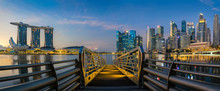 Sunrise And Bridge In Singapore City