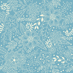 Vector floral seamless pattern in doodle style with flowers, leaves, berries, flower buds. Gentle, summer floral background.
