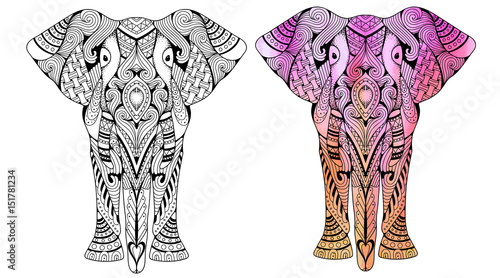 Elephant Coloring Book For Adults Vector Illustration Anti Stress