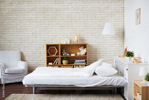 Fototapety, obrazy: Interior of white bedroom in modern flat