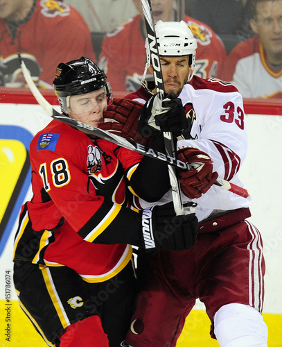 Phoenix Coyotes Aucoin Hits Calgary Flames Stajan During Their Nhl