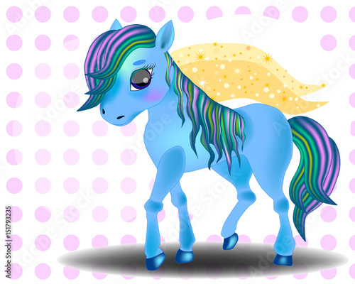 Cute cartoon little blue baby horse Wallpaper Mural