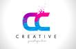 CC C C Letter Logo with Shattered Broken Blue Pink Texture Design Vector.