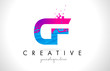CF C F Letter Logo with Shattered Broken Blue Pink Texture Design Vector.
