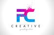 FC F C Letter Logo with Shattered Broken Blue Pink Texture Design Vector.
