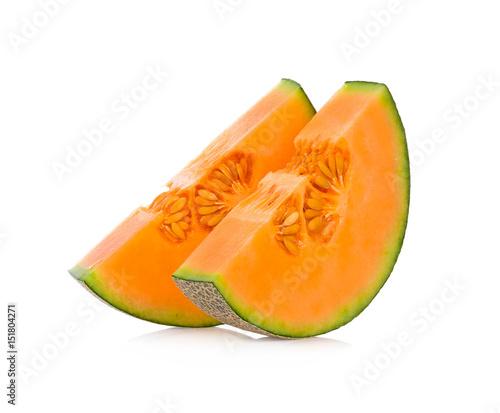 cantaloupe melon fruits isolated on white background.