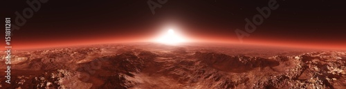 Photo Stands Brown Mars from orbit, panorama of Mars, Marsim landscape, sunrise over Mars, 3D rendering