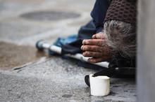 Homeless Elderly Woman Refugee...