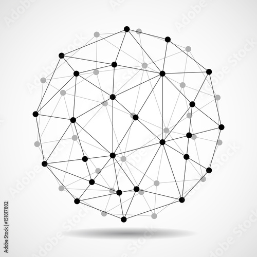 Fotografie, Obraz  Abstract wireframe globe sphere, network connections. Vector