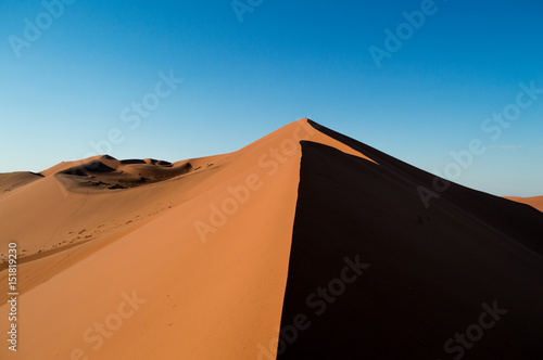 Climbing Big Daddy Dune during Sunrise, Looking at the Summit, Desert Landscape, Namibia