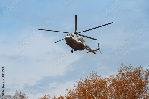 Tuinposter Helicopter Ukrainian military helicopter Mi-8