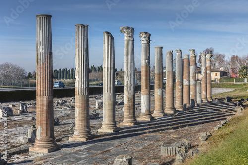 Columns on roman forum in Aquileia, Friuli, Venezia Giulia Canvas Print