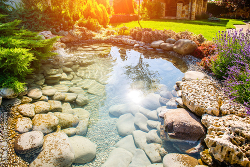 Foto op Canvas Tuin beautiful landscaping with beautiful plants