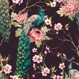 Watercolor peacock vector pattern - 151831279