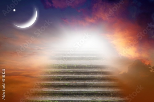 Ramadan background . half moon at sunset . Way to heaven . Sunset and new moon .  Sacred month for the Muslim .