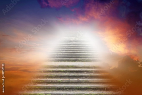Stampa su Tela Stairs in sky