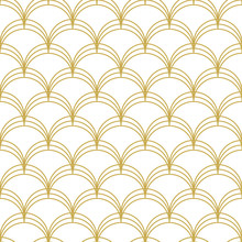 Art Deco Linear Scallops. Seamless Vector Pattern