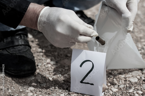 Fotografija  The crime scene, murder, investigation, sleeves shots serve as evidence, the inv
