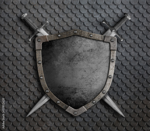 Photo medieval shield with two crossed swords over scales armor 3d illustration
