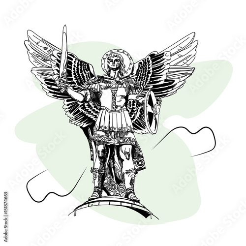 Monument to the Archangel Michael in Kiev Wallpaper Mural