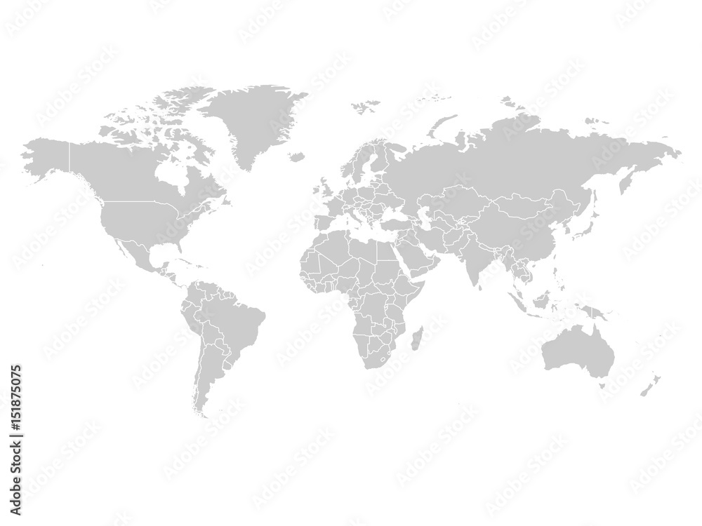 Fototapety, obrazy: World map in grey color on white background. High detail blank political map. Vector illustration with labeled compound path of each country.