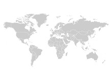 World Map In Grey Color On White Background. High Detail Blank Political Map. Vector Illustration With Labeled Compound Path Of Each Country.