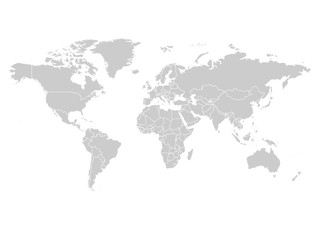 Fototapeta World map in grey color on white background. High detail blank political map. Vector illustration with labeled compound path of each country.