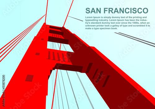 Photo  Bottom view of golden gate bridge in San Francisco