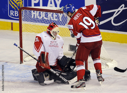 Denmark S Feuk Makes A Save On Czech Republic S Hertl During Play At