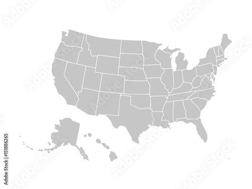 Fotografía  Blank similar USA map isolated on white background