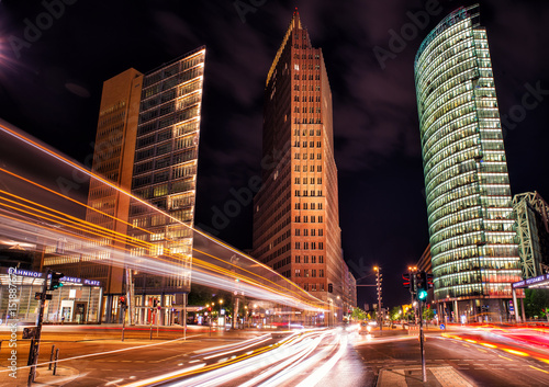 Foto op Aluminium Berlijn berlin, potsdamer platz at night