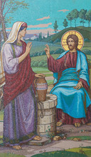 Mosaic Of Jesus And The Samaritan Woman At The Well