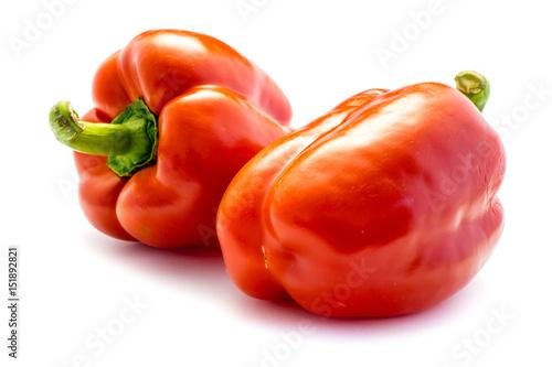 Fotografie, Obraz  Roter Paprika Gemüsepaprika isoliert freigestellt auf weißen Hintergrund, Freist