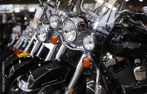 Fototapeta  Various models of motorcycles are shown at Harley-Davidson of Frederick in Frede