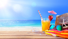 Drinking And Relax On The Beach - Summer Concept