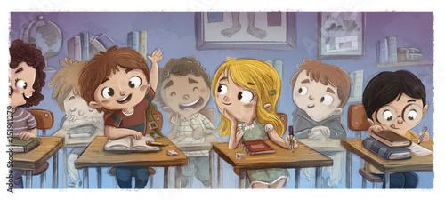 Photo niños estudiando en el colegio