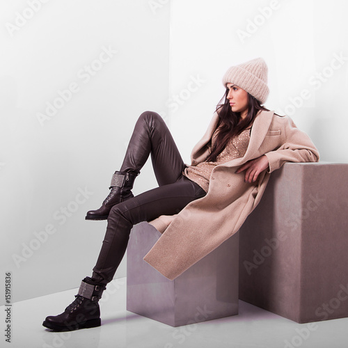 Fashionable woman. Elegant outfit. Close up of accessorise of stylish lady. Insolated on white background. Without face. Female fashion. City lifestyle. Wall mural