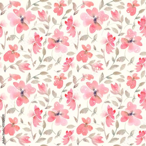 Keuken foto achterwand Bloemen Romantic light red Floral seamless Pattern.