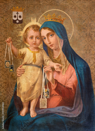 TURIN, ITALY - MARCH 16, 2017: The painting of Our Lady of Mount Carmel in church Chiesa della Madonna del Carmine by unknown artist of 19 Fototapeta