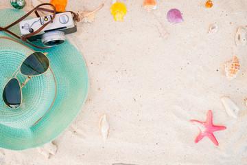 beach accessories on sandy - summer background