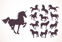 Magic Cute Unicorns Silhouette...