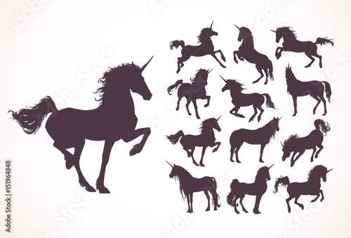 Magic Cute unicorns silhouettes, white stars, clouds Canvas Print